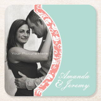 Coral and Mint Damask Photo Wedding Square Paper Coaster
