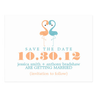 Coral and Mint Flamingos Wedding Save the Date Postcard
