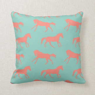 Coral and Mint Galloping Horses Pattern Cushion