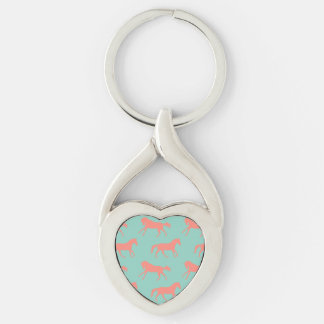 Coral and Mint Galloping Horses Pattern Silver-Colored Twisted Heart Key Ring