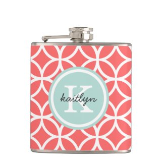 Coral and Mint Geometric Diamonds Custom Monogram Hip Flask