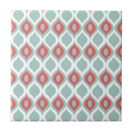 Coral and Mint Geometric Ikat Tribal Print Pattern