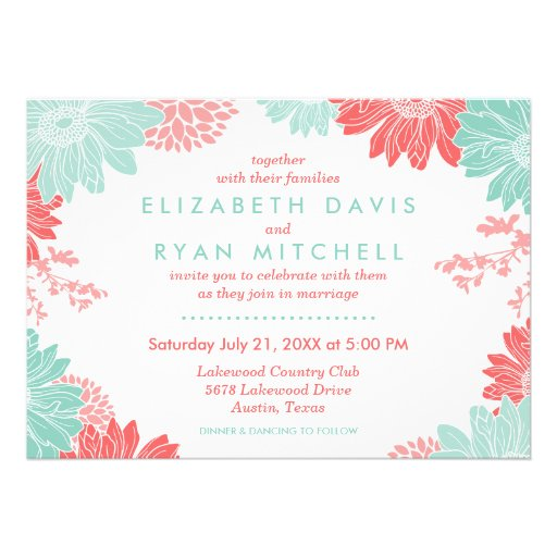 Coral and Mint Modern Floral Wedding Invitation