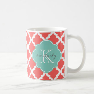 Coral and Mint Moroccan Quatrefoil Print Coffee Mug