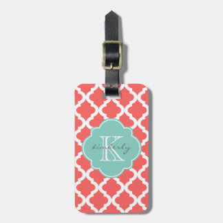 Coral and Mint Moroccan Quatrefoil Print Luggage Tag
