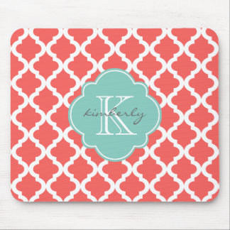 Coral and Mint Moroccan Quatrefoil Print Mouse Mat