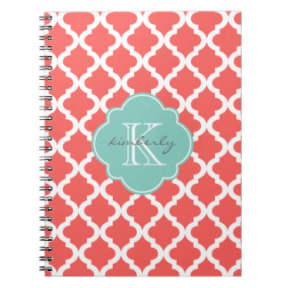 Coral and Mint Moroccan Quatrefoil Print Notebooks