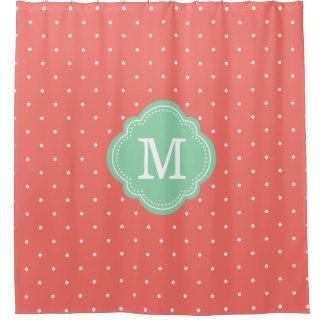 Coral and Mint Polka Dots Monogrammed Shower Curtain