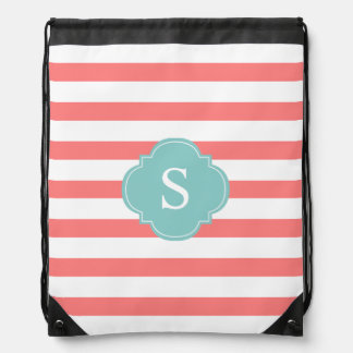 Coral and Mint Stripes Monogram Drawstring Bag