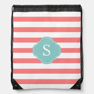 Coral and Mint Stripes Monogram Drawstring Bag