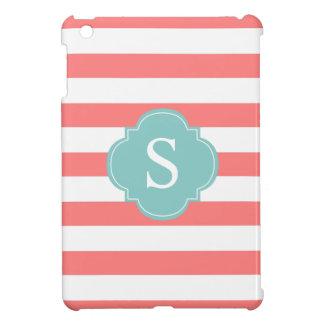 Coral and Mint Stripes Monogram iPad Mini Case