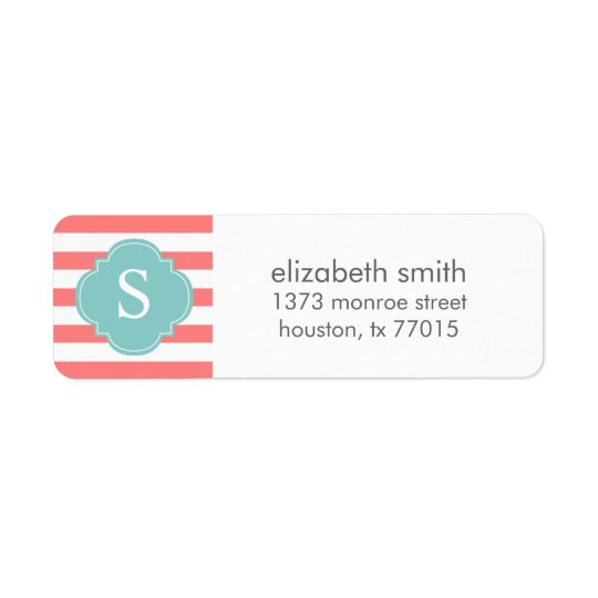 Coral and Mint Stripes Monogram Return Address Label
