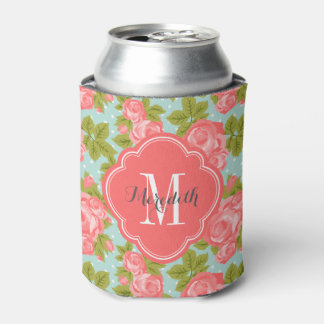 Coral and Mint Vintage Roses Monogram Can Cooler