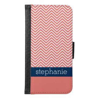 Coral and Navy Blue Chevrons Custom Name