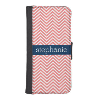 Coral and Navy Blue Chevrons Custom Name iPhone SE/5/5s Wallet Case