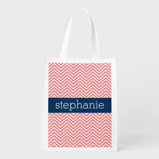 Coral and Navy Blue Chevrons Custom Name Reusable Grocery Bag