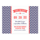 Coral and Navy Blue Modern Chevron Save the Date