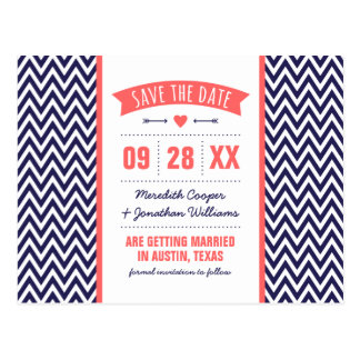 Coral and Navy Blue Modern Chevron Save the Date Postcards