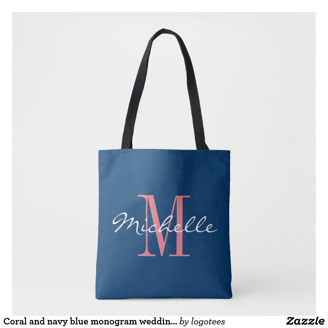 Coral and navy blue monogram wedding tote bag