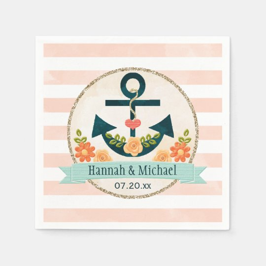 Coral and Navy Blue Nautical Anchor Wedding Disposable