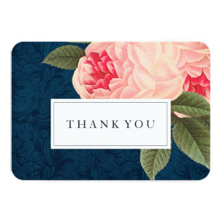 Coral and Navy Blue Shabby Chic Thank You Cards