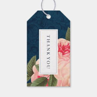 Coral and Navy Blue Wedding Favor Gift Hang Tag