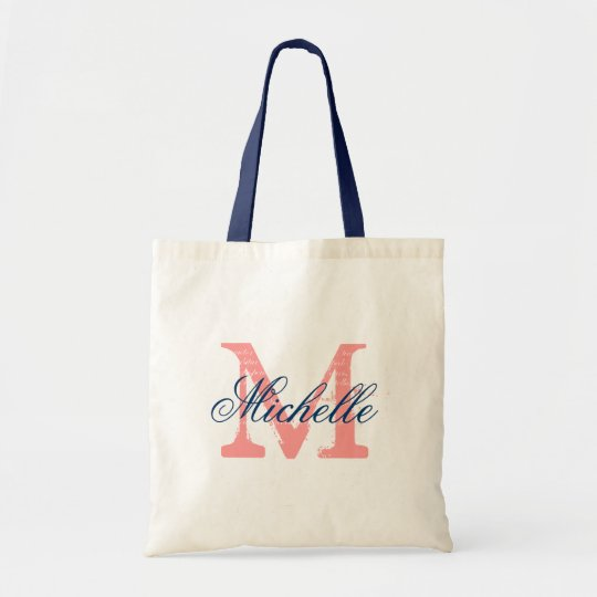 Coral and navy blue wedding tote bag with