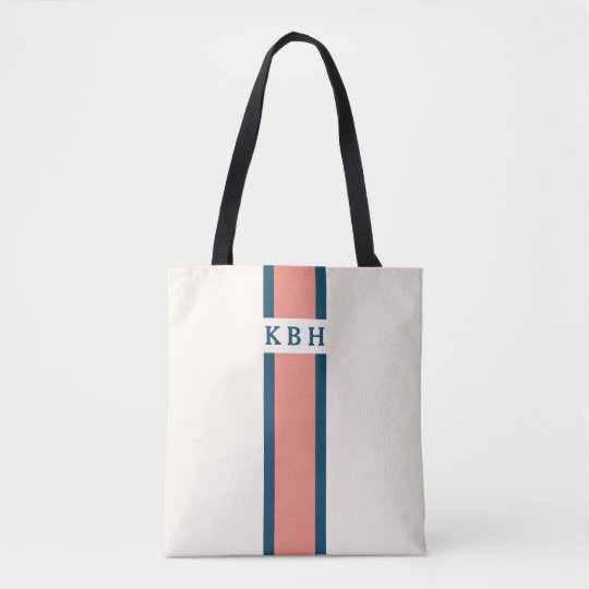 Coral and Navy | Classic Stripe Monogram Tote Bag
