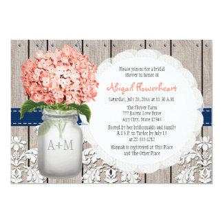 Coral and Navy Hydrangea Mason Jar Bridal Shower 13 Cm X 18 Cm Invitation Card