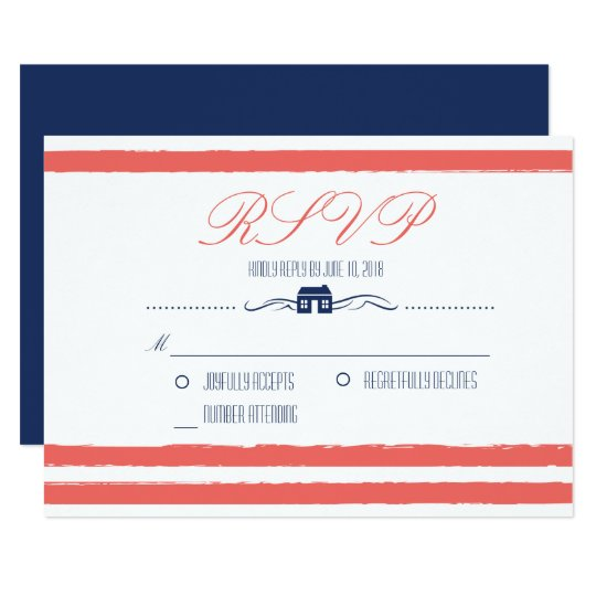 Coral and Navy Lake or Beach Front Wedding