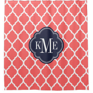 Coral and Navy Moroccan Quatrefoil Monogram Shower Curtain