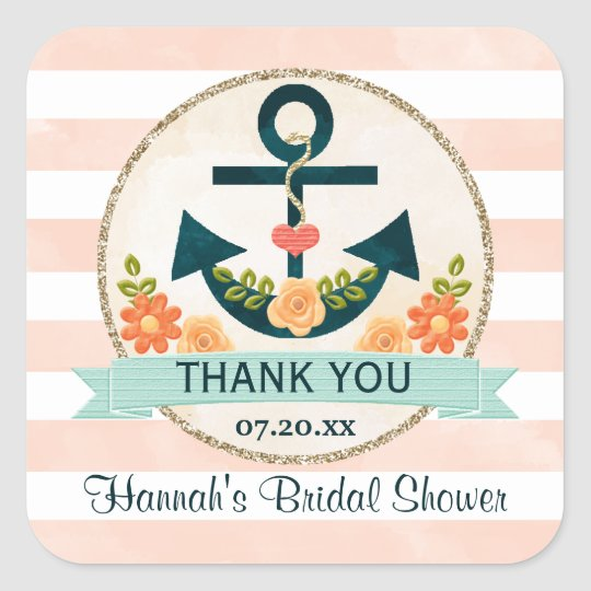 Coral and Navy Nautical Floral Anchor Thank You