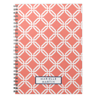 Coral and Navy Octagon Link Monogram Notebooks