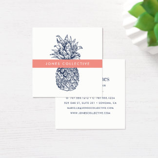 Coral and Navy Pineapple Square Business Card