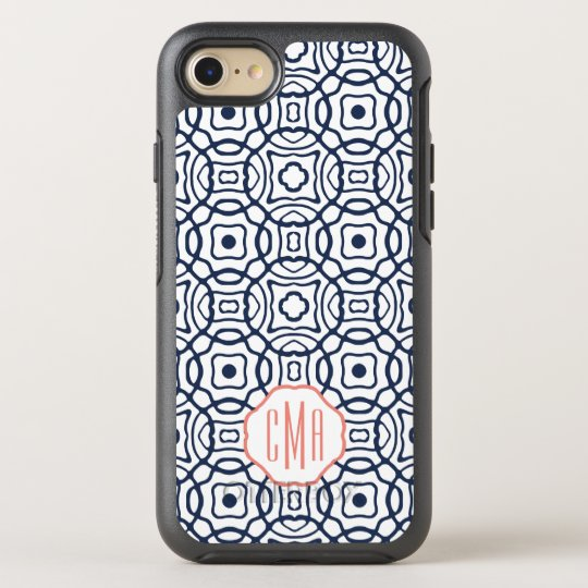 Coral and Navy Quatrefoil Monogram OtterBox Symmetry iPhone