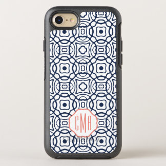 Coral and Navy Quatrefoil Monogram OtterBox Symmetry iPhone 8/7 Case