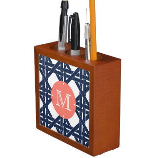 Coral and Navy Rattan Basketweave Monogram Desk Organiser