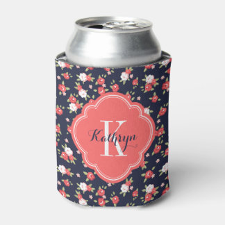 Coral and Navy Vintage Floral Monogram Can Cooler