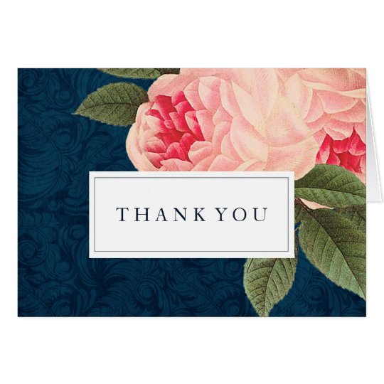 Coral and Navy Wedding Thank You Cards