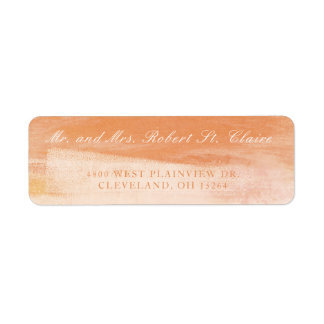 Coral and Peach Watercolor Wash Address Label
