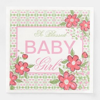 Coral and Pink Baby Shower Paper Napkins