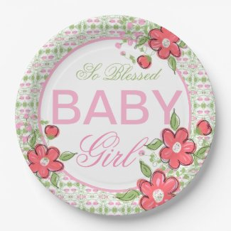 Coral and Pink Flowered Baby Shower Paper Plates