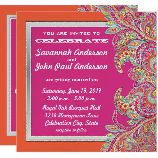 Coral and Pink Paisley Peacock Wedding Invitations