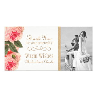 Coral and Pink Peonies Thank You Photo Card (4x8)