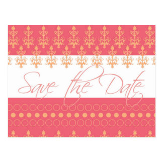 Coral and Pink Save the Date Postcard