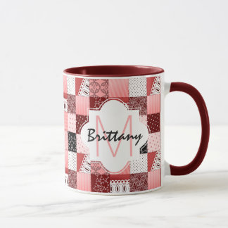 Coral and Red Patchwork Quilt Design Monogram Mug
