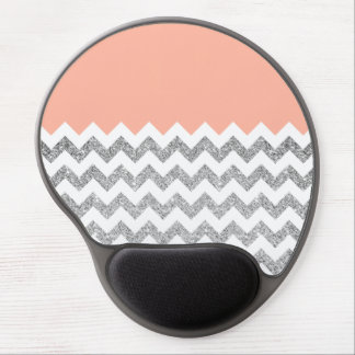 Coral and Silver Faux Glitter Chevron Gel Mouse Pad