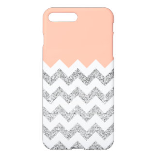 Coral and Silver Faux Glitter Chevron iPhone 7 Plus Case