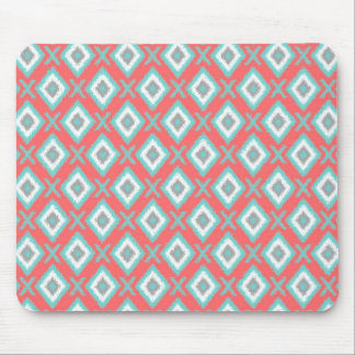 Coral and soft blue Ikat mousepad design desk gift Mouse Pad