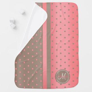 Coral and Tan Polka Dots - Monogram Receiving Blankets